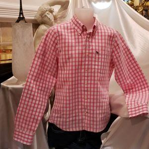 A&F Dk. Pink plaid men's shirt L